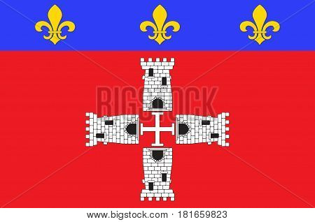 Flag of Marmande is a commune in the Lot-et-Garonne departement in south-western France. Vector illustration