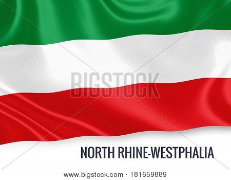 German state North Rhine-Westphalia flag waving on an isolated white background. State name is included below the flag. 3D rendering.