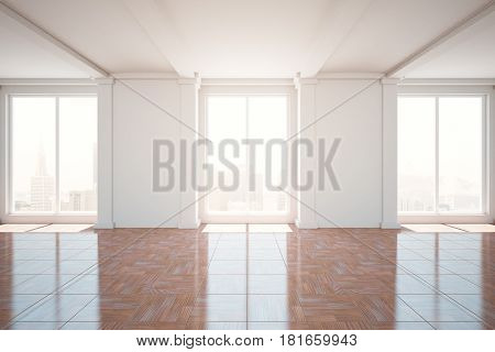 Unfurnished classic room with city view. 3D Rendering