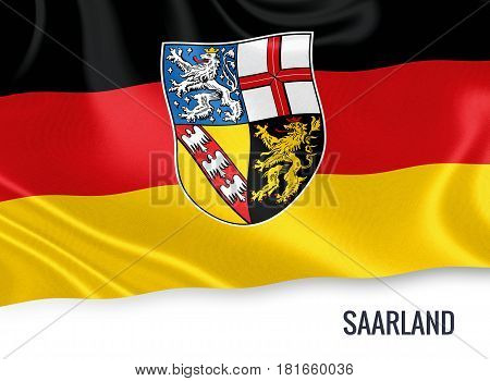 German state Saarland flag waving on an isolated white background. State name is included below the flag. 3D rendering.