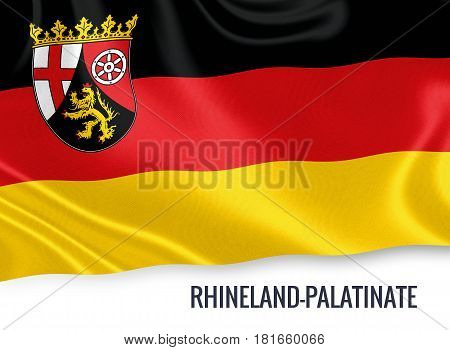 German state Rhineland-Palatinate flag waving on an isolated white background. State name is included below the flag. 3D rendering.