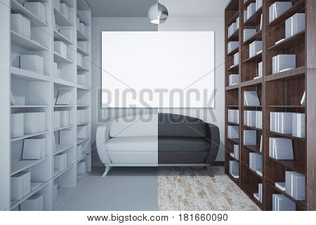 Front view of abstract library interior bookcases couch and blank poster. Mock up 3D Rendering