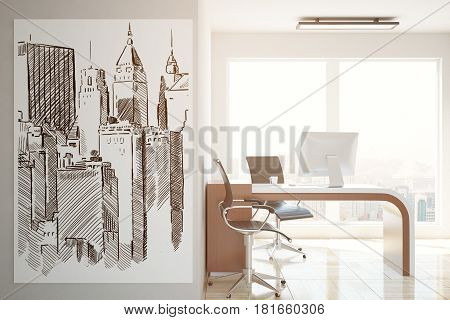 Side view of office interior with workplace city view and buildings sketch on poster. Architecture concept. 3D Rendering