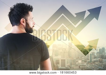 Back view of thoughtful young man on abstract city background with upward arrows. Success concept. Double exposure