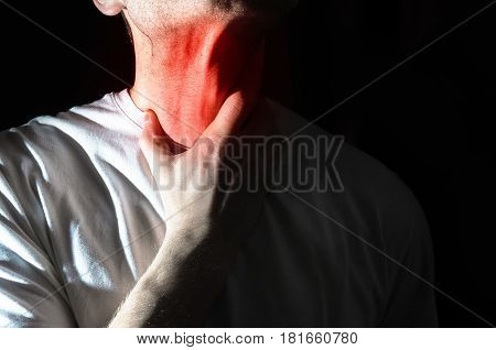 The Man Touches His Sore  Throat, Neck, Temperature, Runny Nose, Illness, Pain,