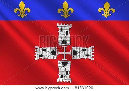 Flag of Marmande is a commune in the Lot-et-Garonne departement in south-western France. 3d illustration