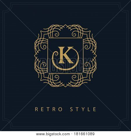 Line art Monogram luxury design graceful template. Calligraphic elegant beautiful logo. Letter emblem sign K for Royalty Restaurant Boutique Hotel Heraldic Jewelry. Vector illustration