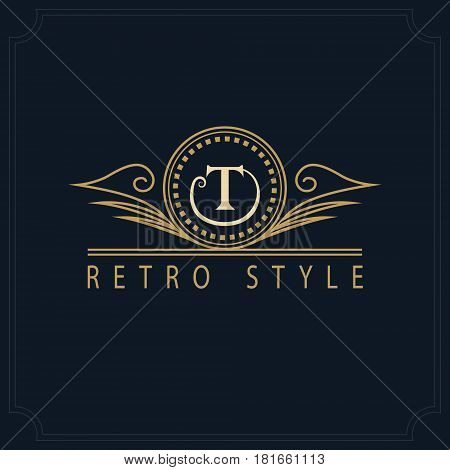 Line art Monogram luxury design graceful template. Calligraphic elegant beautiful logo. Letter emblem sign T for Royalty Restaurant Boutique Hotel Heraldic Jewelry. Vector illustration