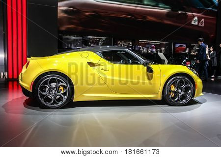 NEW YORK- APRIL 12: Alfa Romeo 4C shown at the New York International Auto Show 2017, at the Jacob Javits Center. This was Press Preview Day One of NYIAS, on April 12, 2017  in New York City.