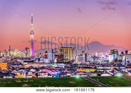 Tokyo, Japan skyline with Mt. Fuji and the Skytree Tower.
