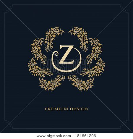 Floral Monogram luxury design graceful template. Calligraphic elegant beautiful logo. Letter emblem sign Z for Royalty Restaurant Boutique Hotel Heraldic Jewelry. Vector illustration