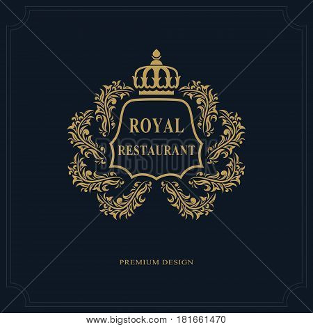 Floral Monogram luxury design graceful template. Calligraphic elegant beautiful logo. Emblem sign for Royalty Restaurant Boutique Hotel Heraldic Jewelry. Vector illustration