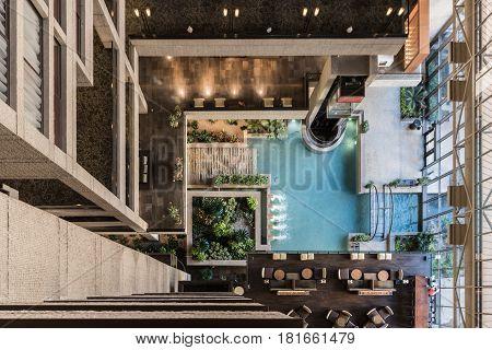 January 19, 2017: San Antonio, United States: Looking Down on Atrium Fountain in interior lobby