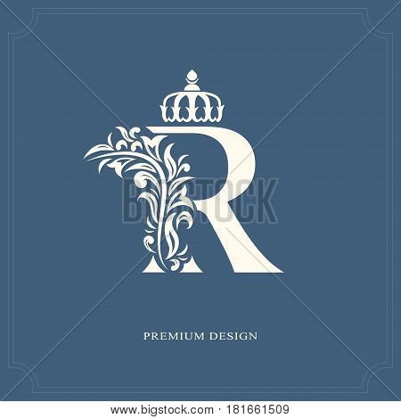 Elegant letter R with a crown. Graceful royal style. Calligraphic beautiful logo. Vintage drawn emblem for book design brand name business card Restaurant Boutique Hotel. Vector illustration