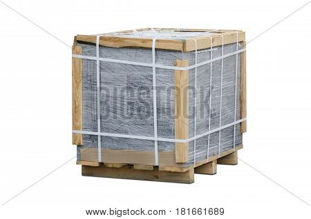 Brick in packing on white background isolation