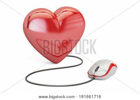 Heart with computer mouse online dating concept. 3D rendering