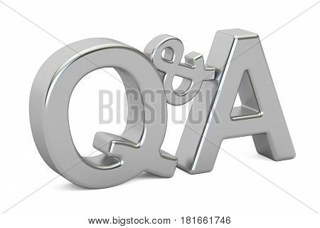 Q&A silver inscription 3D rendering isolated on white background
