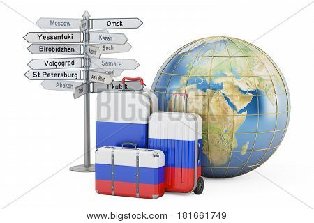 Russia travel concept. Suitcases with Russian flag signpost and Earth globe. 3D rendering