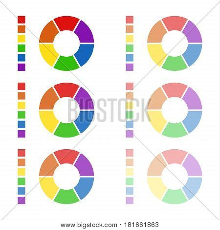 Collection of rounded diagrams with the spectral colors isolated on white background infographic elements circular spectrum wheels