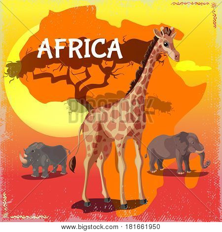 Cartoon wild african animals concept with giraffe rhino and elephant on colorful savannah background vector illustration