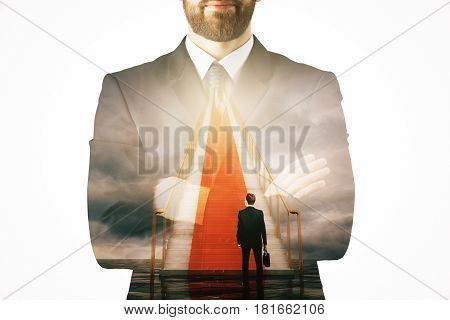 Thoughtful man climbing abstract stairs to heaven. Success concept. Double exposure