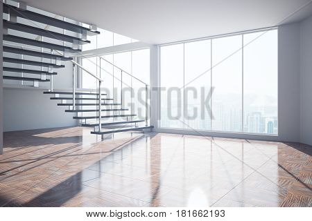 Empty Interior With Stairs And Sunlight