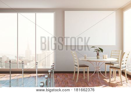 Living Room With Blank Poster