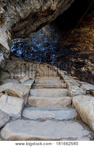 Low Angle of Stairs Through Arch Rock en route to Alum Cave