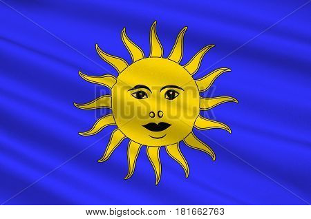 Flag of Nerac is a commune in the Lot-et-Garonne department in south-western France. 3d illustration