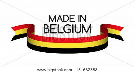 Colored ribbon with the Belgian tricolor Made in Belgium symbol Belgian flag isolated on white background vector illustration
