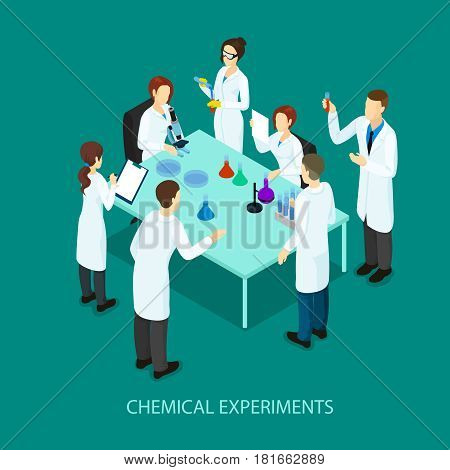 Isometric chemical research template with scientists standing around table and doing scientific experiment vector illustration