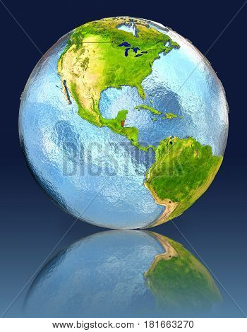 Belize On Globe With Reflection