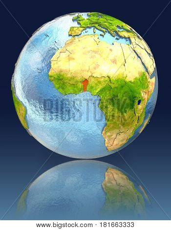 Benin On Globe With Reflection