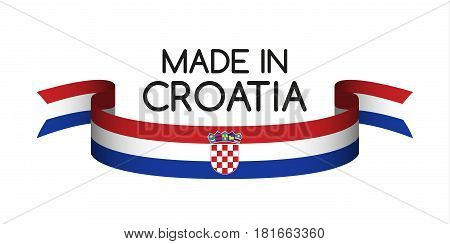 Colored ribbon with the Croatian tricolor Made in Croatia symbol Croatian flag isolated on white background vector illustration
