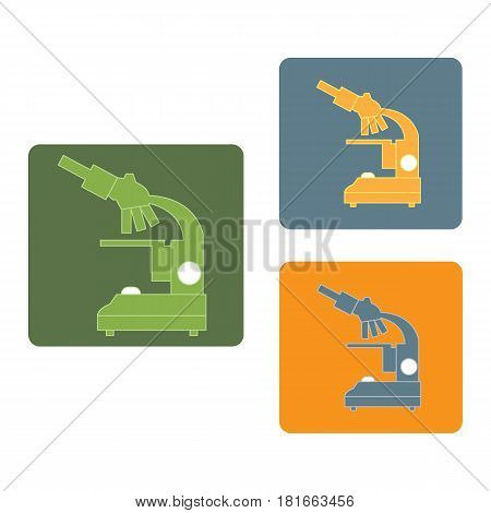 Stylized Vector Icons Of Microscope In Different Colors. Laboratory Equipment Symbol.