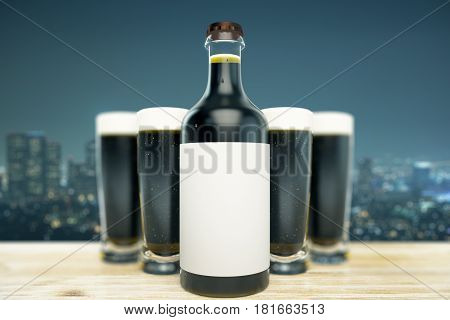 Close up of dark beer bottle with blank label and full glasses on night city background. Ad concept. Mock up 3D Rendering