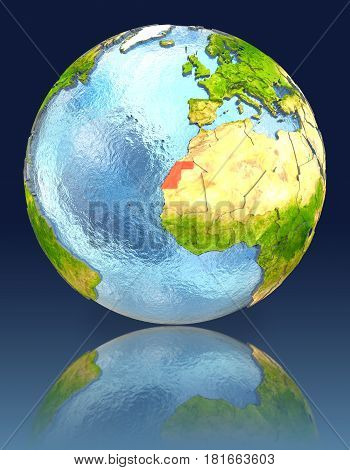 Western Sahara On Globe With Reflection
