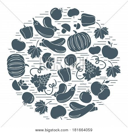 Set Of Autumn Seasonal Fruits And Vegetables In Circle.