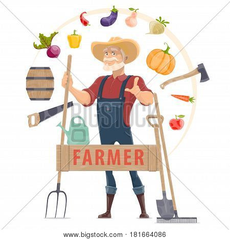 Agronomist elements round concept with farmer garden tools organic vegetables and fruits isolated vector illustration