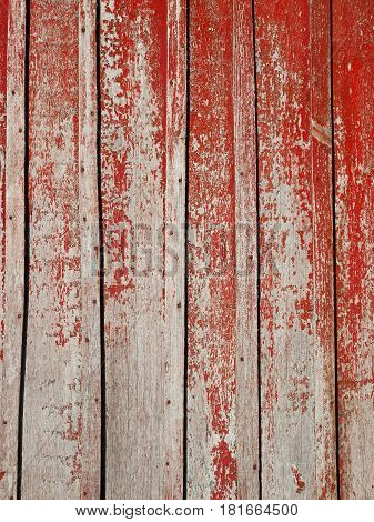Old Wooden Planks With Shelled Red Paint