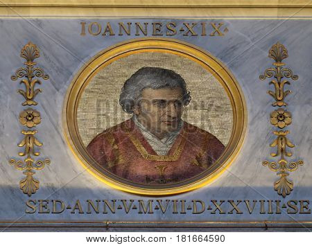 ROME, ITALY - SEPTEMBER 05: The icon on the dome with the image of Pope John XIX was Pope from May 1024 to his death in 1032., basilica of Saint Paul Outside the Walls, Rome on September 05, 2016.