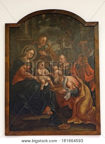 ZAGREB, CROATIA - FEBRUARY 17: Birth of Jesus, Adoration of the Magi, the altarpiece of the Church of Holy Three Kings in Karlovac, Zagreb, Croatia on February 17, 2015.