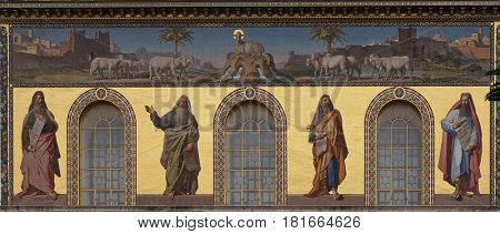 ROME, ITALY - SEPTEMBER 05: Mosaic of prophets Isaiah, Jeremiah, Ezekiel and Daniel, Basilica of Saint Paul outside the walls, Rome, Italy on September 05, 2016.
