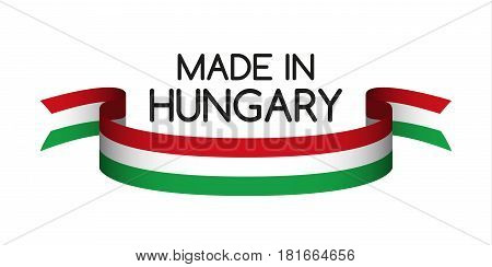 Colored ribbon with the Hungarian tricolor Made in Hungary symbol Hungarian flag isolated on white background vector illustration