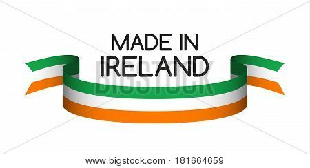 Colored ribbon with the Irish tricolor Made in Ireland symbol Irish flag isolated on white background vector illustration