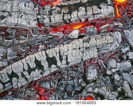Firewood With Red-hot Smoldering Charcoal