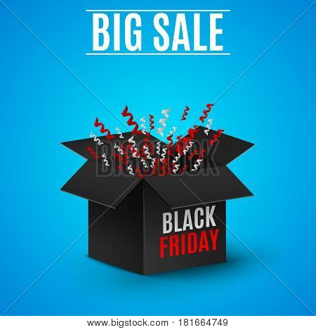 black Friday. A realistic black box on a light blue background. Flashing ribbons tinsel candy ornaments. Explosion of a dark box. Place for your projects. Red and white text on the box. Web illustration