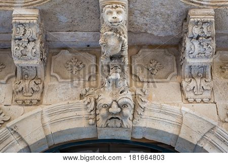 Details of building in the old part of Syracuse - Ortygia isle Sicily Italy