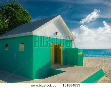 Public toilet on West Bay beach by the Caribbean sea in Cayman Islands