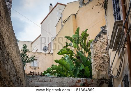 Town houses on the old part of Syracuse - Ortygia isle Sicily Italy